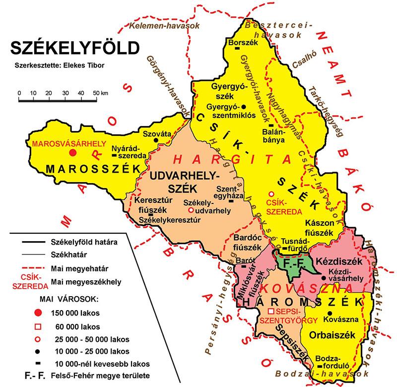 Székelyföld, avagy Erdély - fekvése és területei - forrás: www.erdelyiutazas.hu